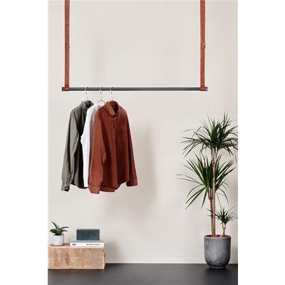 Clothes Rack Leatherish I Black-Dark Brown