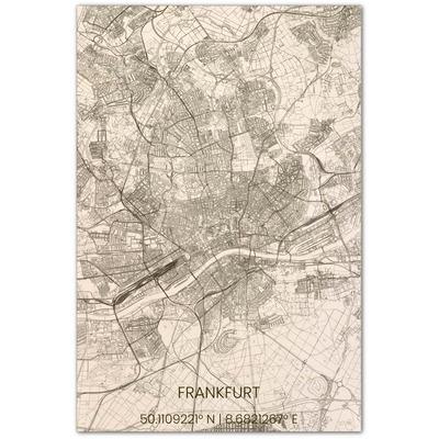 Wooden Wall Decoration | City Map | Frankfurt