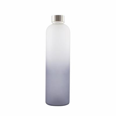 Glasflasche mit Silikon Frosted 1 lt I Dunkelblau