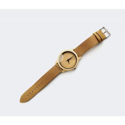 Wooden Watch | Beige Leather + Light Brown Wood