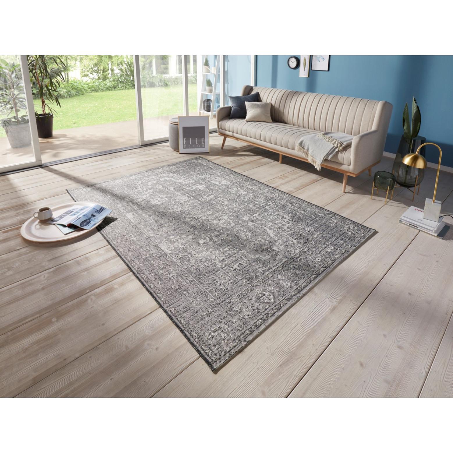 Flachgewebter In- & Outdoor-Teppich Cenon   Grau