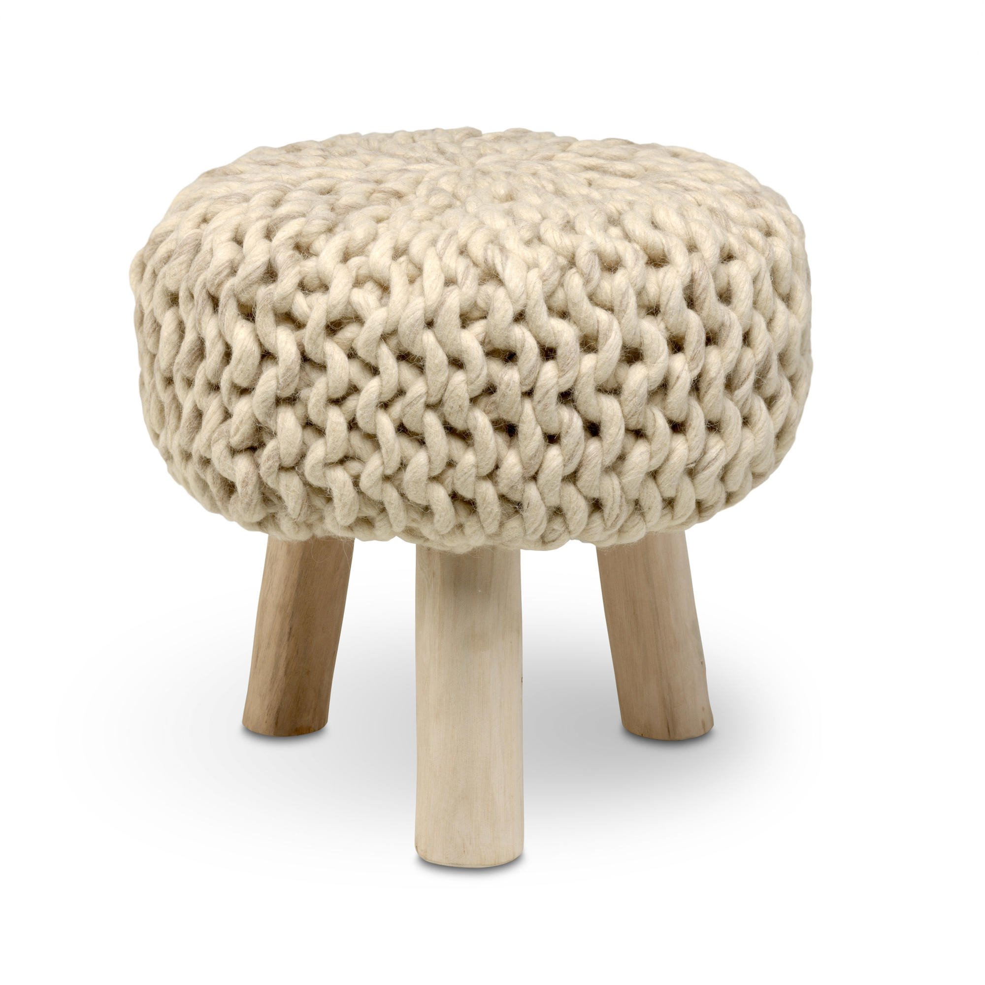 Wool Stool   Beige