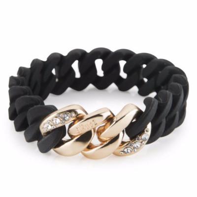 The Chrystal bracelet   Black & Soft Gold