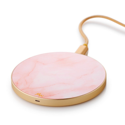 Wireless Charger | Pink Marble / Gold