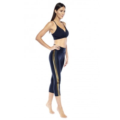 Capri Pants Xersion | Black & Gold
