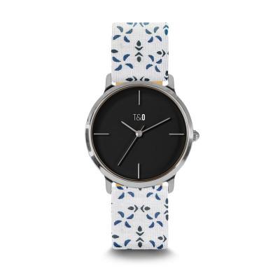 Frauen-Uhr Petal 34   Weiß & Blau