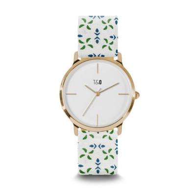 Frauen-Uhr Petal 34   Weiß- und Grün Gold Vergoldet