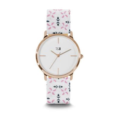 Frauen-Uhr Petal 34   Weiß- und Rosé Vergoldet