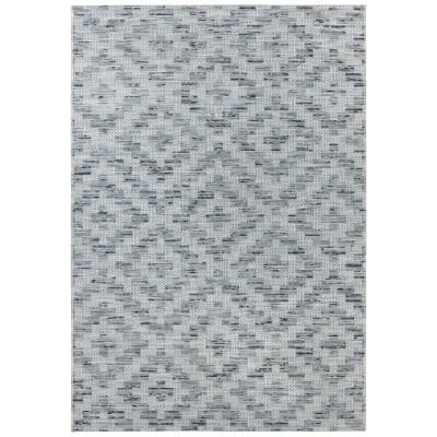 Flachgewebter In- & Outdoor-Teppich Creil | Blau Creme