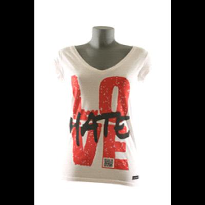 Hate T-Shirt Women V-Neck- White
