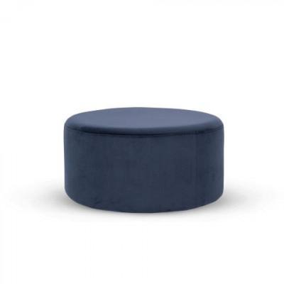 Folk Pouf Low | Velvet Navy Blue