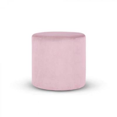 Folk Pouf High | Velvet Pink