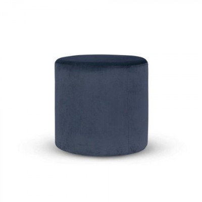Folk Pouf High | Velvet Navy Blue