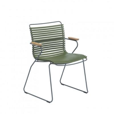 Gartenstuhl mit Armlehnen Click | Olivgrün