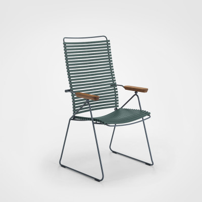 Gartenstuhl mit verstellbarer Rückenlehne Click Position | Tannengrün