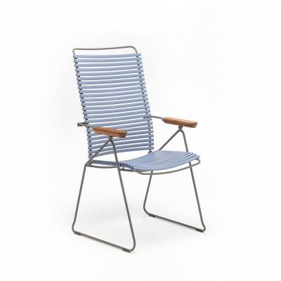 Gartenstuhl mit verstellbarer Rückenlehne Click Position | Taubenblau