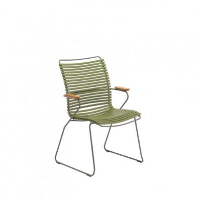 Gartenstuhl mit hoher Rückenlehne Click | Olivgrün