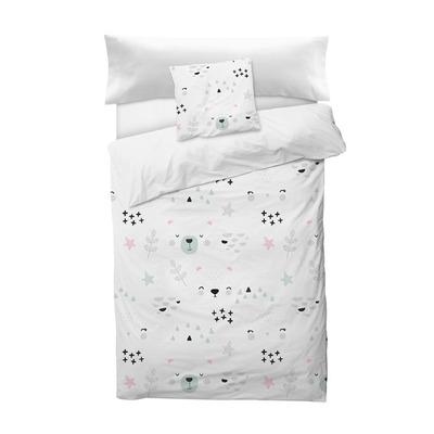 Bettbezug Faces I Weiß 155x220 + 110x45 cm