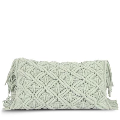 Kissenbezug 50 x 30 cm Makramee | Minzgrün
