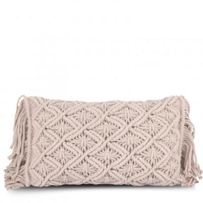 Kissenbezug 50 x 30 cm Makramee | Helle Rose