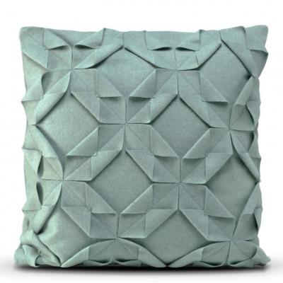 Kissenbezug 50 x 50 cm Origami Filz | Dunkles Türkis