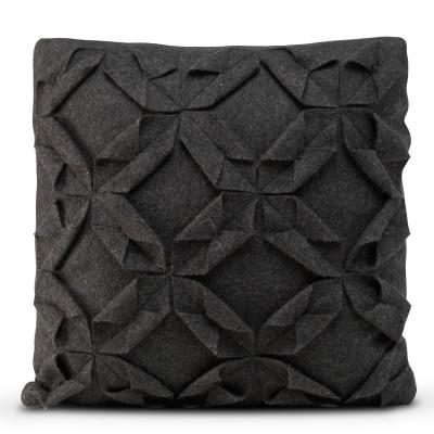Kissenbezug 50 x 50 cm Origami Filz | Schwarz