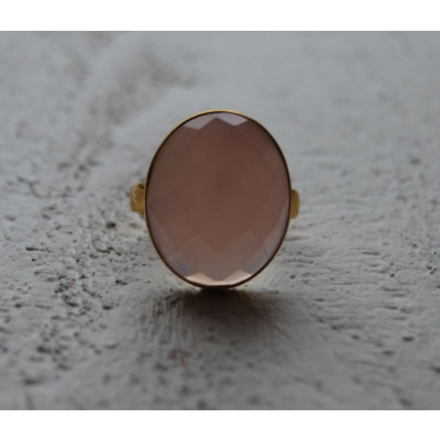 Pink Oval Onyx Ring