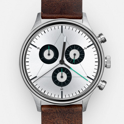 The Engineer Analog Watch   Brushed Steel, Dark Brown Italian Leather Strap