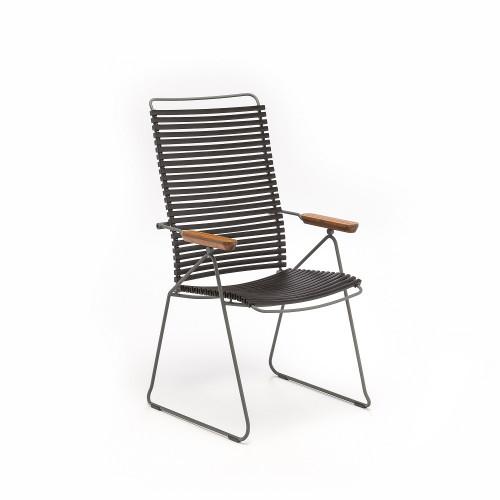 Gartenstuhl mit verstellbarer Rückenlehne Click Position | Schwarz