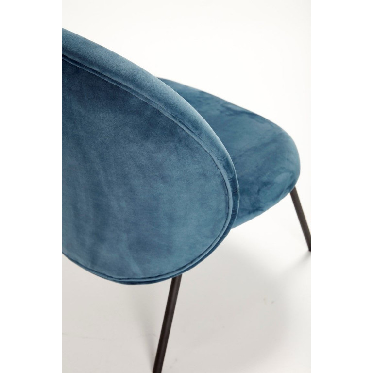 Lounge Chair with Metal Legs | Black/Blue
