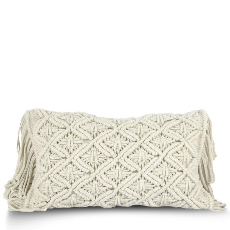 Cushion Cover 50 x 30 cm Macrame | Ecru
