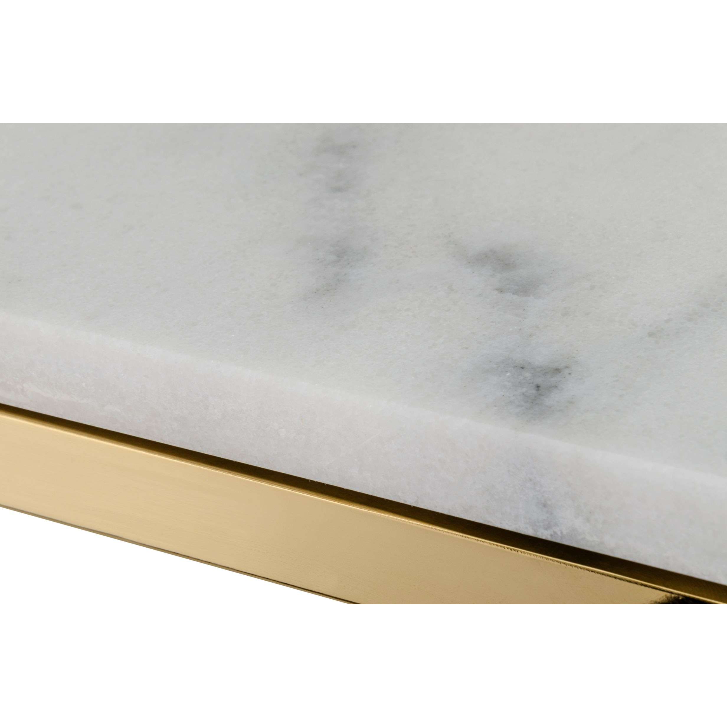 Console Accent | White Marble / Shiny Gold