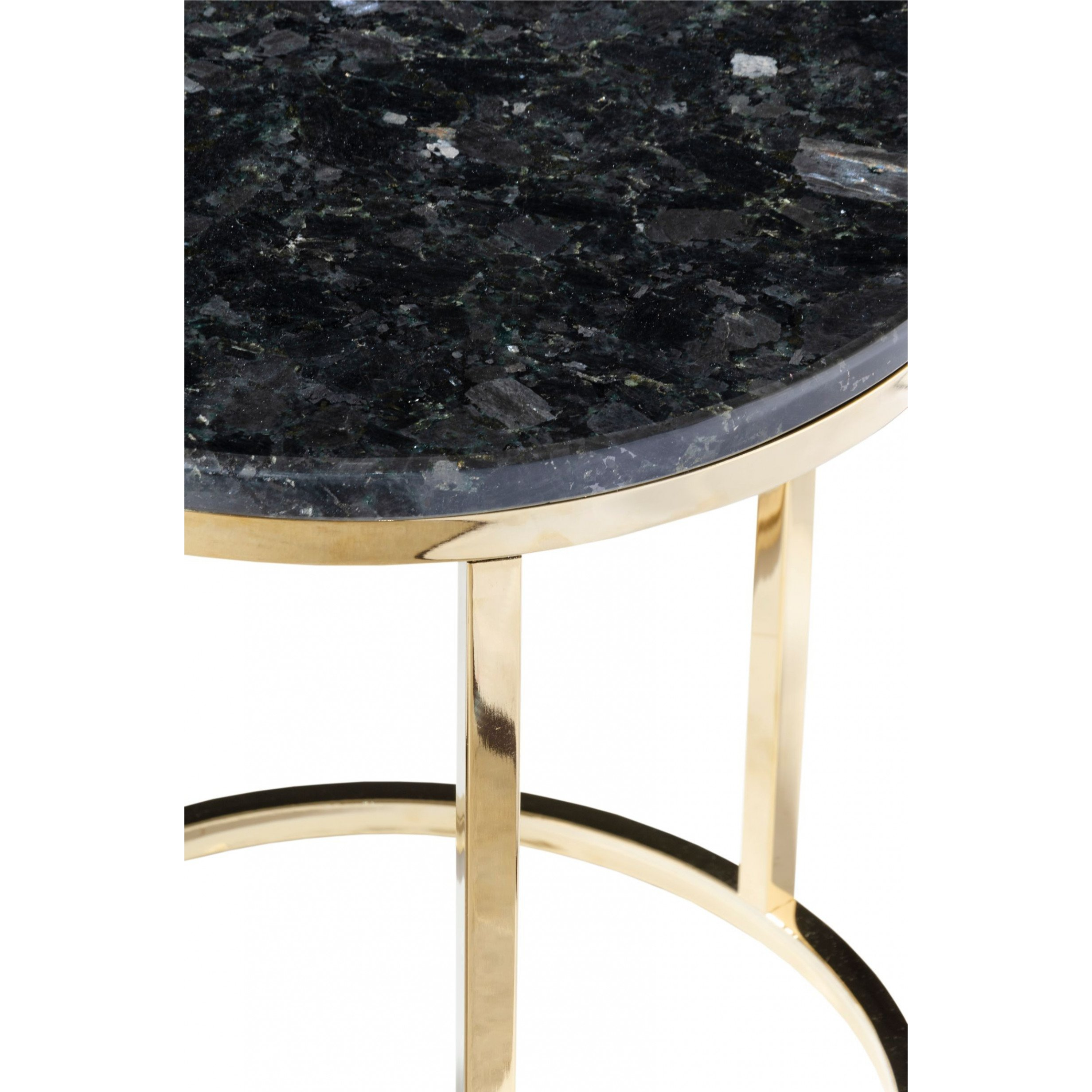 Round Side Table Accent Black Crystall   Black & Gold