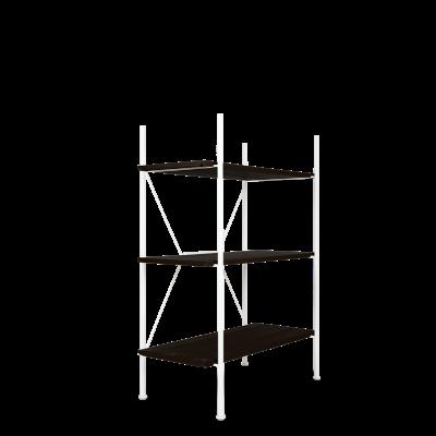 Lagerregalsystem Niedrig | Weiß/Schwarz