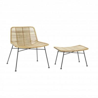 Lounge-Stuhl mit Hocker Rattan | Natur & Schwarz