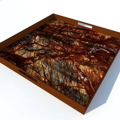 Tablett Quadratisch - Regenwald Braun