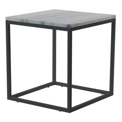 Akzenttisch Quadratisch 50 cm   Weißer Marmor & Stahlrahmen