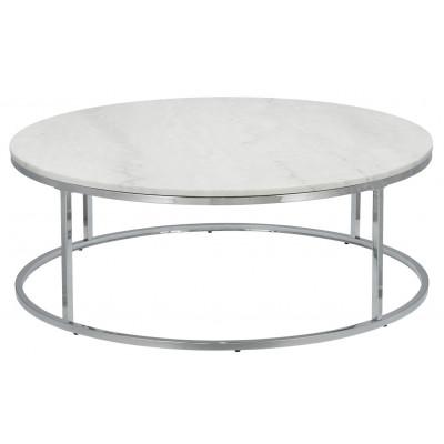 Beistelltisch Accent Ø 110 cm | Weißer Marmor & Stahlrahmen Grau
