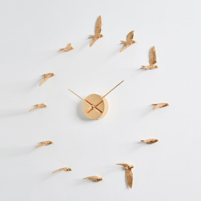 Uhr Schwalben | Vergoldet