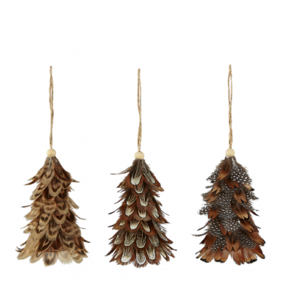 Christmas Tree Decoration Feathers Natural   Set of 12