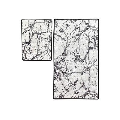 2-teiliges Badematten-Set Marmor I Weiß
