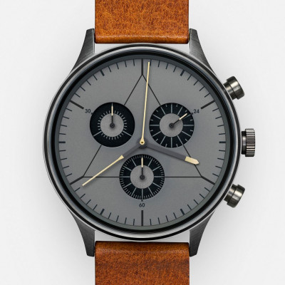 The Engineer Analog Watch   PVD Gunmetal, Brown Leather Strap