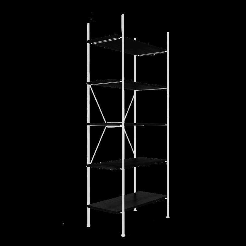 Lagerregalsystem Hoch | Weiß/Schwarz