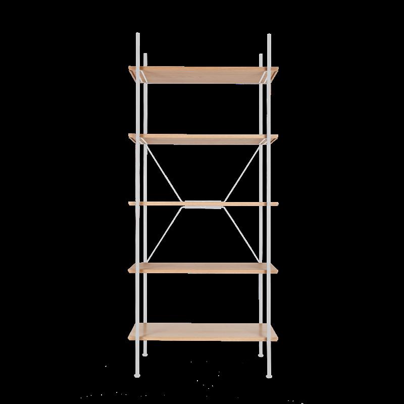 Lagerregalsystem Hoch | Weiß/Eiche