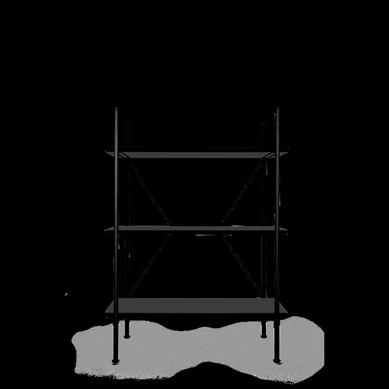 Lagerregalsystem Niedrig | Schwarz/Schwarz