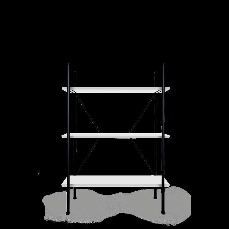 Lagerregalsystem Niedrig | Schwarz/Weiß