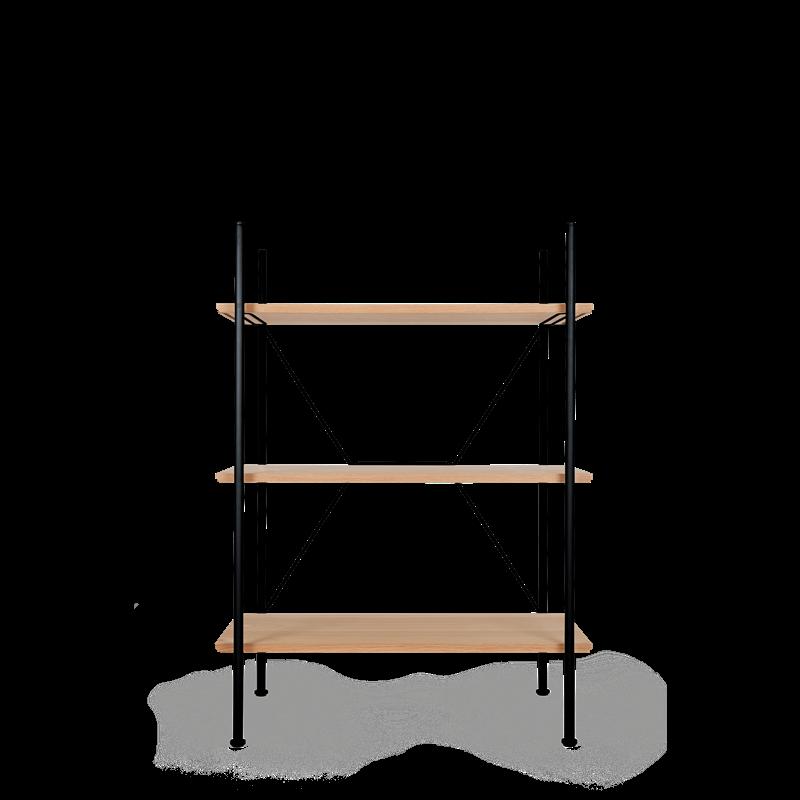 Lagerregalsystem Niedrig | Schwarz/Eiche