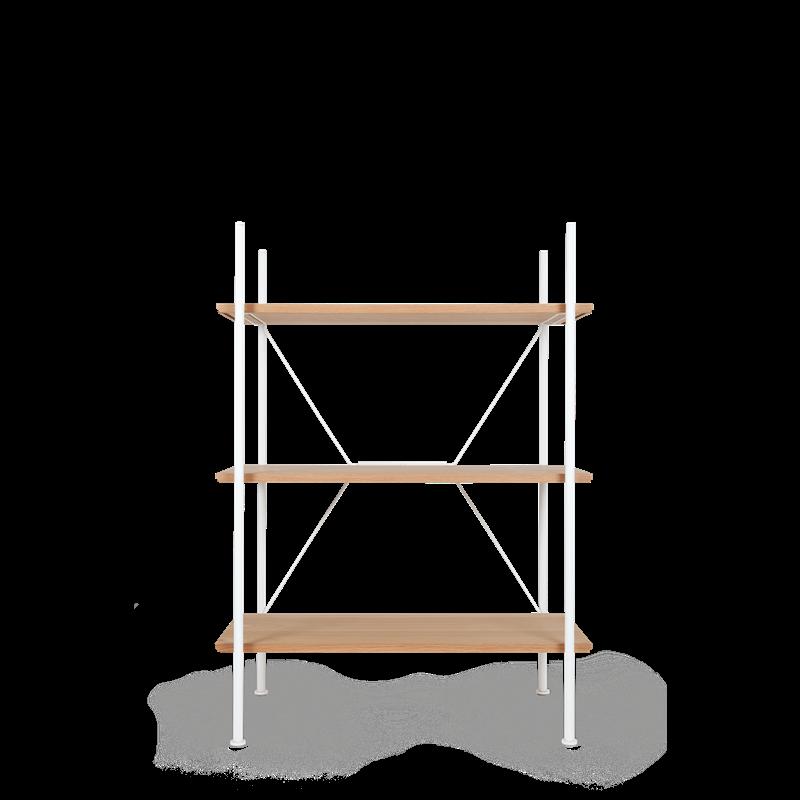 Lagerregalsystem Niedrig | Weiß/Eiche