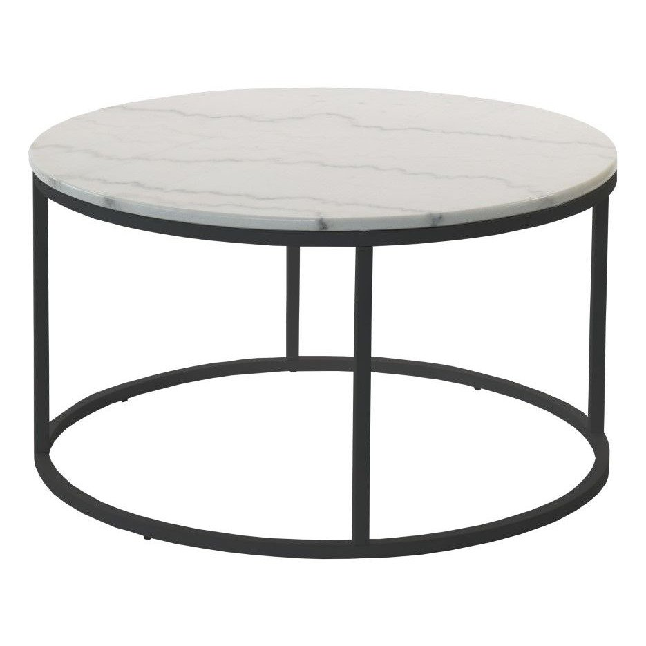 Accent Table Round Ø 85 cm   White Marble & Steel Frame