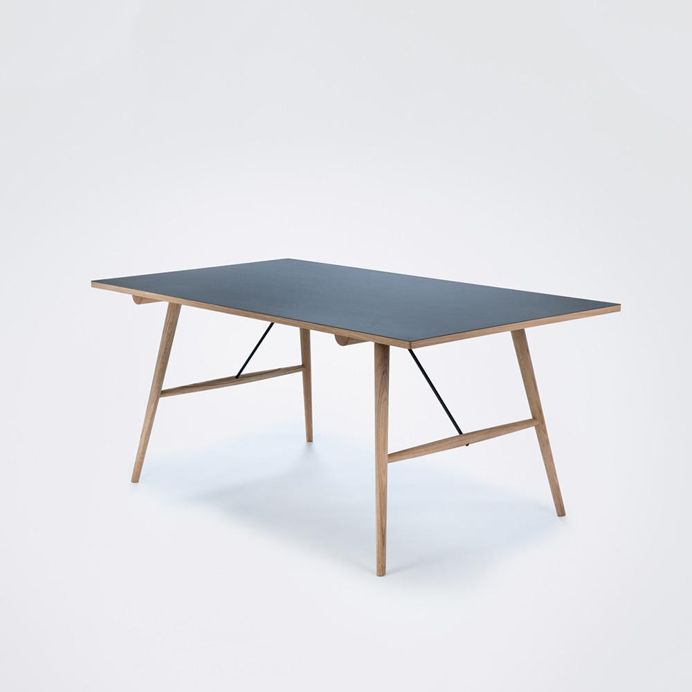 Tisch Hekla | Schwarz Linoleum / Eche-S